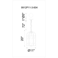 CWI Lighting 9912P11-3-604 Kalu 3 Light 11 inch Antique Bronze Pendant Ceiling Light