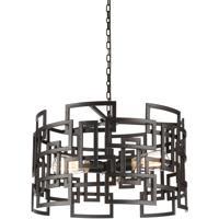 CWI Lighting 9913P19-3-205 Litani 3 Light 19 inch Brown Chandelier Ceiling Light