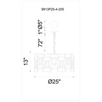 CWI Lighting 9913P25-4-205 Litani 4 Light 25 inch Brown Chandelier Ceiling Light