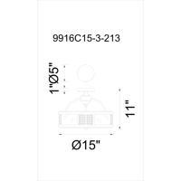 CWI Lighting 9916C15-3-213 Quinn 3 Light 15 inch Gray Flush Mount Ceiling Light