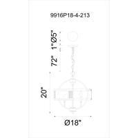 CWI Lighting 9916P18-4-213 Quinn 4 Light 18 inch Gray Chandelier Ceiling Light