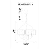 CWI Lighting 9916P28-8-213 Quinn 8 Light 28 inch Gray Chandelier Ceiling Light