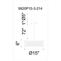 CWI Lighting 9920P15-3-214 Monroe 3 Light 15 inch Black Silver Chandelier Ceiling Light