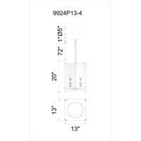 CWI Lighting 9924P13-4-S-215 Verda 4 Light 13 inch Blackened Copper Pendant Ceiling Light