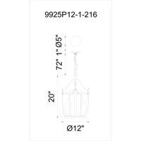 CWI Lighting 9925P12-1-216 Imperial 1 Light 12 inch Antique Black Pendant Ceiling Light
