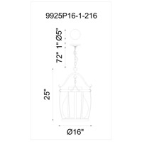 CWI Lighting 9925P16-1-216 Imperial 1 Light 16 inch Antique Black Down Pendant Ceiling Light