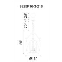 CWI Lighting 9925P16-3-216 Imperial 3 Light 16 inch Antique Black Pendant Ceiling Light