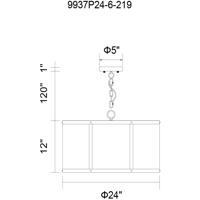 CWI Lighting 9937P24-6-219 Heale 6 Light 24 inch Reddish Black Chandelier Ceiling Light