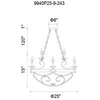 CWI Lighting 9940P25-9-243 Morden 9 Light 25 inch Gun Metal Candle Chandelier Ceiling Light
