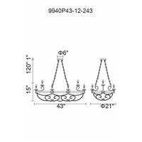 CWI Lighting 9940P43-12-243 Morden 12 Light 43 inch Gun Metal Candle Island Light Ceiling Light