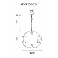 CWI Lighting 9950P26-6-221 Verbena 6 Light 26 inch Pewter Chandelier Ceiling Light