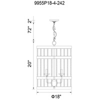 CWI Lighting 9955P18-4-242 Dene 4 Light 18 inch Gun Metal Chandelier Ceiling Light