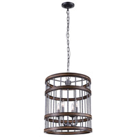 CWI Lighting 9955P18-4-242 Dene 4 Light 18 inch Gun Metal Drum Shade Chandelier Ceiling Light