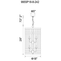 CWI Lighting 9955P18-8-242 Dene 8 Light 18 inch Gun Metal Drum Shade Chandelier Ceiling Light