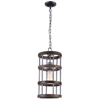 CWI Lighting 9955P8-1-242 Dene 1 Light 8 inch Gun Metal Drum Shade Mini Chandelier Ceiling Light