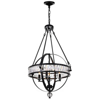 CWI Lighting 9957P20-4-101 Arkansas 4 Light 20 inch Black Chandelier Ceiling Light