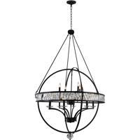CWI Lighting 9957P42-12-101 Arkansas 12 Light 42 inch Black Chandelier Ceiling Light
