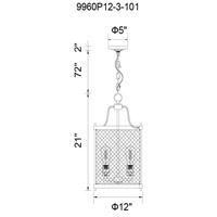 CWI Lighting 9960P12-3-101 Kayan 3 Light 12 inch Black Drum Shade Mini Chandelier Ceiling Light