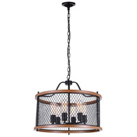 CWI Lighting 9960P22-6-101 Kayan 6 Light 22 inch Black Chandelier Ceiling Light