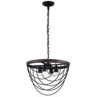 CWI Lighting 9962P17-4-101 Gala 4 Light 17 inch Black Chandelier Ceiling Light
