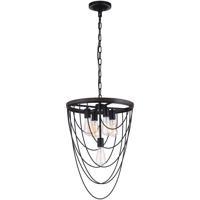 CWI Lighting 9962P17-5-101 Gala 5 Light 17 inch Black Chandelier Ceiling Light