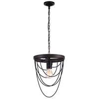 CWI Lighting 9962P9-1-101 Gala 1 Light 9 inch Black Chandelier Ceiling Light