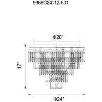 CWI Lighting 9969C24-12-601 Weiss 12 Light 24 inch Chrome Flush Mount Ceiling Light