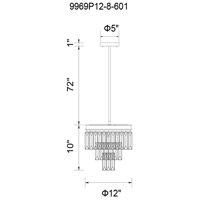 CWI Lighting 9969P12-8-601 Weiss 8 Light 12 inch Chrome Chandelier Ceiling Light