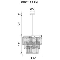 CWI Lighting 9969P18-5-601 Weiss 5 Light 18 inch Chrome Chandelier Ceiling Light