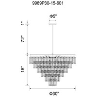 CWI Lighting 9969P30-15-601 Weiss 15 Light 30 inch Chrome Chandelier Ceiling Light
