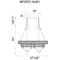 CWI Lighting 9972P37-16-601 Shalia 16 Light 37 inch Chrome Island/Pool Table Ceiling Light