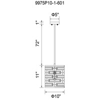 CWI Lighting 9975P10-1-601 Petia 1 Light 10 inch Chrome Drum Shade Mini Chandelier Ceiling Light