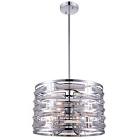 CWI Lighting 9975P15-4-601 Petia 4 Light 15 inch Chrome Drum Shade Chandelier Ceiling Light