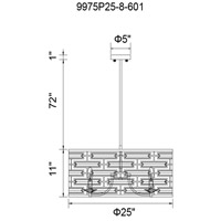 CWI Lighting 9975P25-8-601 Petia 8 Light 25 inch Chrome Drum Shade Chandelier Ceiling Light
