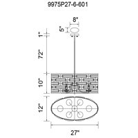 CWI Lighting 9975P27-6-601 Petia 6 Light 27 inch Chrome Drum Shade Chandelier Ceiling Light