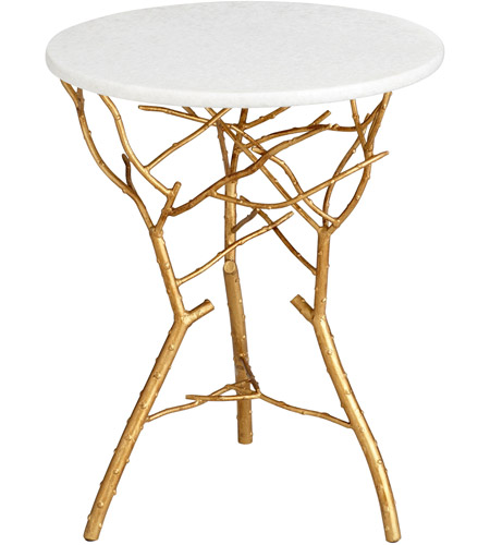 Langly 19 Inch Gold Leaf Side Table