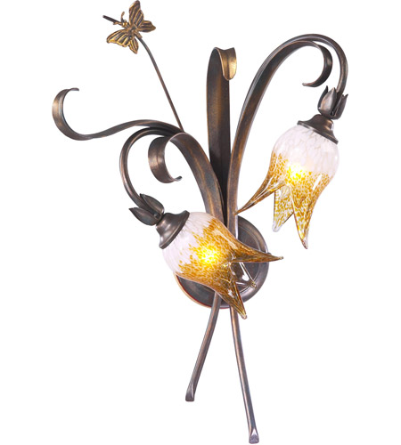 Venetian Iron Glass Wall Sconces