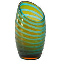 Signature Cyan Blue and Orange Vase, Small