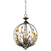 Autumn 4 Light 16 inch Autumn Dusk with Amber Chandelier Ceiling Light