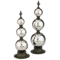 Silver Finial Sphere Chrome Sculpture, Large