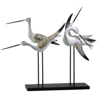Sandpiper Quartet Weathered White and Gray Sculpture