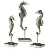 Seahorses On Stand Silver Leaf Sculpture
