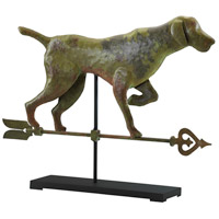 Dog On Stand Verde and Rust with Black Stand Sculpture