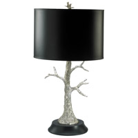 Silver Tree 31 inch 100 watt Silver Leaf and Black Table Lamp Portable Light