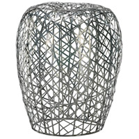 Open Grid Silver Stool Home Decor