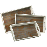 Cyan Design 02470 Alder Distressed White and Gray Nesting Tray