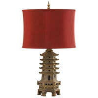 Pagoda 31 inch 150 watt Antique Gold Table Lamp Portable Light