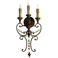 Meriel 3 Light 13 inch Antiqued Sienna Wall Bracket Wall Light