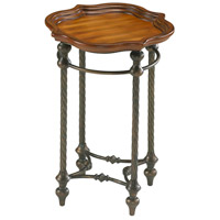 English 18 X 18 inch Rosewood Rust and Verde Side Table Home Decor, Oval