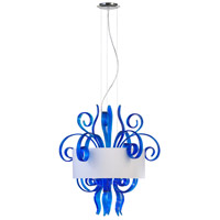 Jellyfish Cyan 6 Light 28 inch Chrome Pendant Ceiling Light, Medium